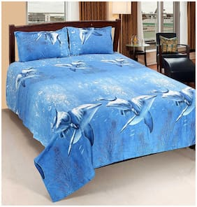 SKY TEX Cotton 3D Printed Double Size Bedsheet 120 TC ( 1 Bedsheet With 2 Pillow Covers , Blue )