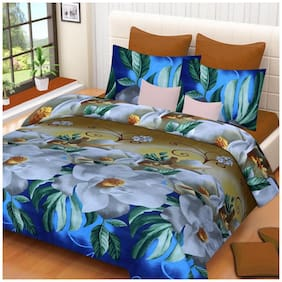 Sky Tex Aqua Colored 3D Printed Floral Cotton Double Bed Sheet With 2 Pillow Covers