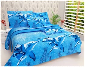 SKY TEX Microfiber Printed Double Size Bedsheet 140 TC ( 1 Bedsheet With 2 Pillow Covers , Turquoise )