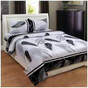 SKY TEX Cotton Printed Double Size Bedsheet 140 TC ( 1 Bedsheet With 2 Pillow Covers , Black )