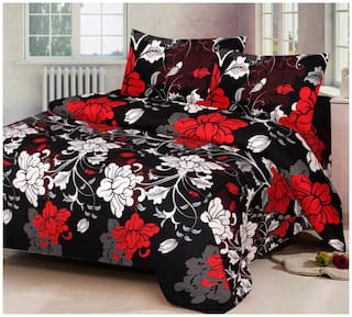 SKY TEX Cotton Floral Double Size Bedsheet 140 TC ( 1 Bedsheet With 2 Pillow Covers , Black )