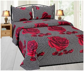 SKY TEX Microfiber Floral Double Size Bedsheet 140 TC ( 1 Bedsheet With 2 Pillow Covers , Black & Red )