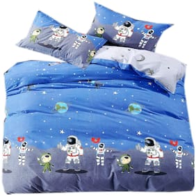 SKY TEX Cotton Printed Queen Size Bedsheet 140 TC ( 1 Bedsheet With 2 Pillow Covers , Blue )