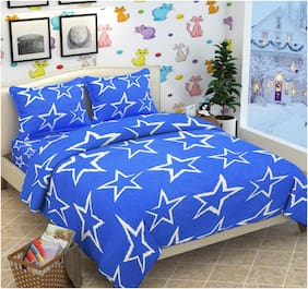SKY TEX Cotton 3D Printed Double Size Bedsheet 140 TC ( 1 Bedsheet With 2 Pillow Covers , Blue )