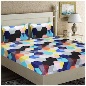 SKY TEX Cotton Geometric King Size Bedsheet 140 TC ( 1 Bedsheet With 2 Pillow Covers , Multi )