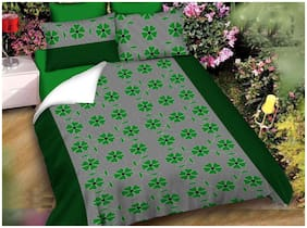 SKY TEX Cotton Floral Double Size Bedsheet 140 TC ( 1 Bedsheet With 2 Pillow Covers , Green )