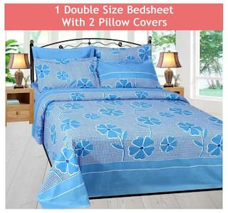 SKY TEX Cotton Floral Double Size Bedsheet 140 TC ( 1 Bedsheet With 2 Pillow Covers , Blue )