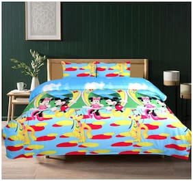 SKY TEX Cotton Kids Double Size Bedsheet 104 TC ( 1 Bedsheet With 2 Pillow Covers , Multi )