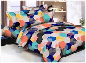 SKY TEX Cotton Geometric Double Size Bedsheet 140 TC ( 1 Bedsheet With 2 Pillow Covers , Multi )