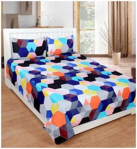 SKY TEX Cotton Geometric Double Size Bedsheet 160 TC ( 1 Bedsheet With 2 Pillow Covers , Multi )