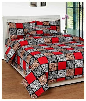 SKY TEX Microfiber Geometric Double Size Bedsheet 140 TC ( 1 Bedsheet With 2 Pillow Covers , Multi )