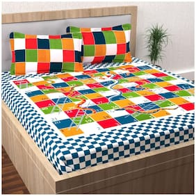 SKY TEX Cotton Printed Queen Size Bedsheet 104 TC ( 1 Bedsheet With 2 Pillow Covers , Multi )