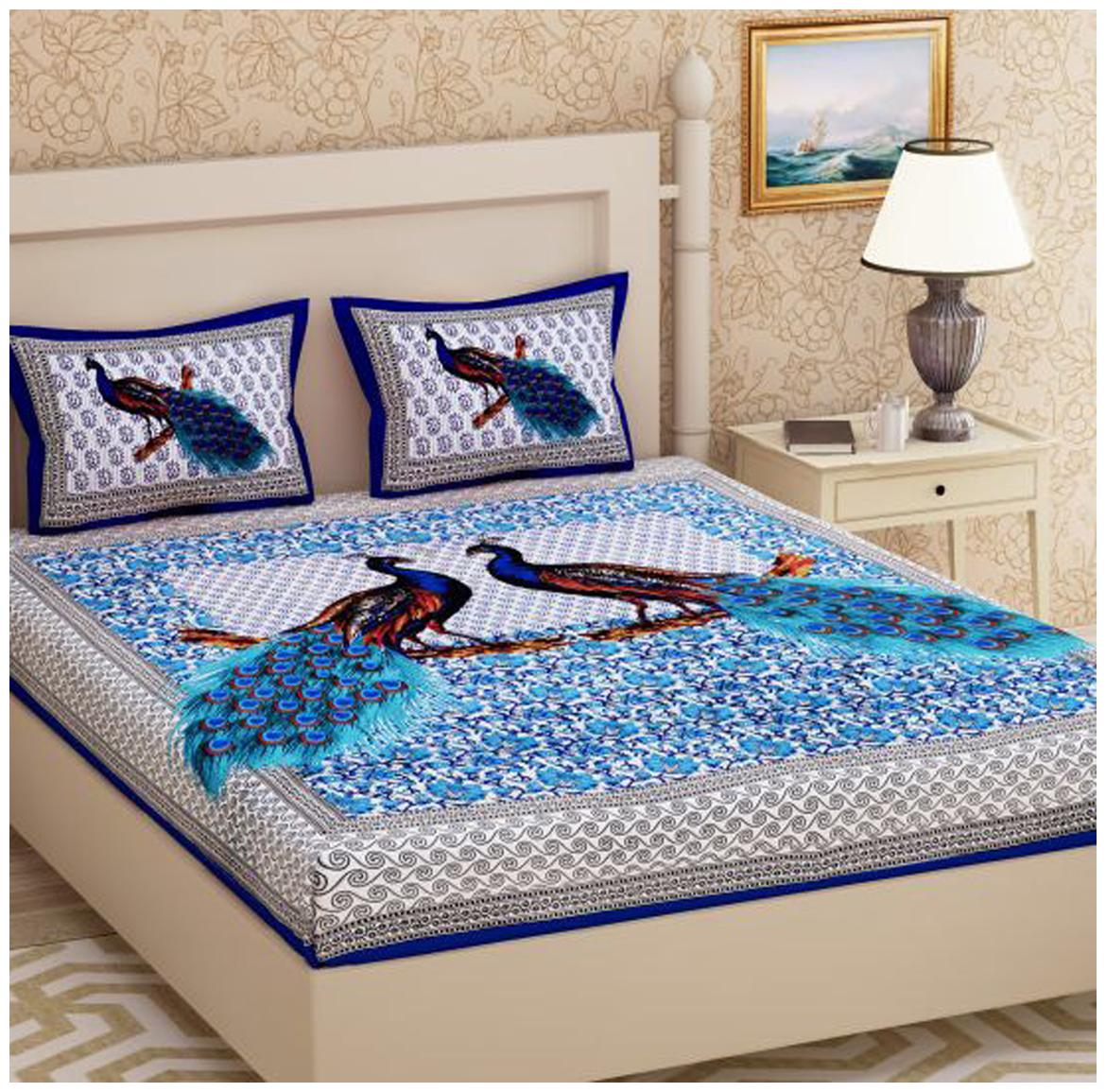 Sky Tex Non Fitted Cotton Printed Queen Blue 1 Bed Sheet With...