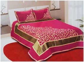 SKY TEX Chenille Solid King Size Bedsheet 350 TC ( 1 Bedsheet With 2 Pillow Covers , Pink )