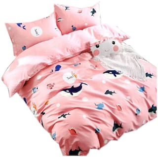 SKY TEX Cotton Printed Queen Size Bedsheet 140 TC ( 1 Bedsheet With 2 Pillow Covers , Pink )