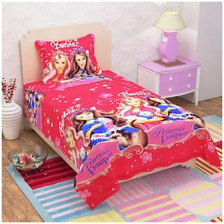 SKY TEX Cotton Kids Single Size Bedsheet 140 TC ( 1 Bedsheet With 1 Pillow Covers , Pink )