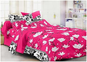 SKY TEX Microfiber Floral Double Size Bedsheet 140 TC ( 1 Bedsheet With 2 Pillow Covers , Pink )