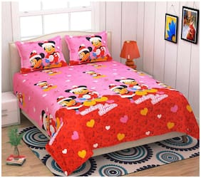 SKY TEX Cotton Printed Double Size Bedsheet 140 TC ( 1 Bedsheet With 2 Pillow Covers , Pink )