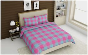 SKY TEX Cotton Checkered Double Size Bedsheet 160 TC ( 1 Bedsheet With 2 Pillow Covers , Pink )