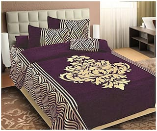 SKY TEX Chenille Solid King Size Bedsheet 350 TC ( 1 Bedsheet With 2 Pillow Covers , Purple )
