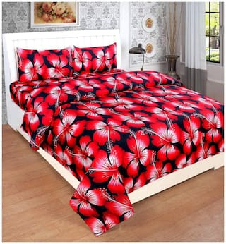 SKY TEX Microfiber Floral Double Size Bedsheet 120 TC ( 1 Bedsheet With 2 Pillow Covers , Red )