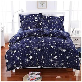 SKY TEX Microfiber Printed Double Size Bedsheet 140 TC ( 1 Bedsheet With 2 Pillow Covers , Blue )
