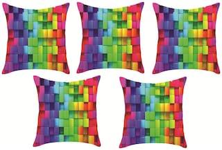 Sky Tex Set Of 5 Digital Printed Sparkling High Quality Fabric Cushion Covers (16x16 inch)