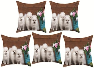 Sky Tex Set Of 5 Digital Printed Puppy Printed High Quality Fabric Cushion Covers