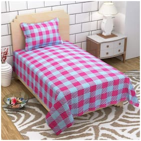 SKY TEX Cotton Checkered Single Size Bedsheet 104 TC ( 1 Bedsheet With 1 Pillow Covers , Pink & Blue )