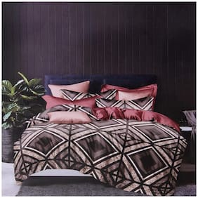 SKY TEX Cotton Geometric King Size Bedsheet 150 TC ( 1 Bedsheet With 2 Pillow Covers , Brown )