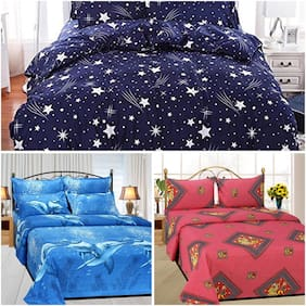 SKY TEX Poly cotton Printed Double Size Bedsheet Combo ( 3 Bedsheet With 6 Pillow Covers , Multi )