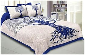 SKY TEX Cotton Printed Double Size Bedsheet 180 TC ( 1 Bedsheet With 2 Pillow Covers , Silver )