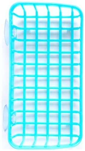 5bd70eabb76 Skyclean Double Suction Cup Kitchen Drainage Shelf Multifunctional  Dishwashing Sponge Storage Rack (Blue)