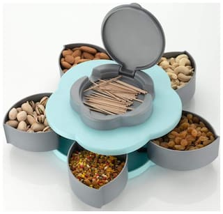 SKYFLY 5 Compartments Flower Candy Box Serving Rotating Tray Dry Fruit, Candy, Chocolate, Snacks Storage Box, Masala Box for Home Kitchen