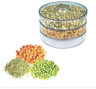 SKYFLY Hygienic Sprout Maker with 3 Compartments for Multi Purpose Use - 1 L Plastic Grocery Container;Utility Box