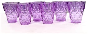 Skyfly Multi Purpose Beverage Tumbler Drinking Glass Set Of 6 Pieces;Diamond Crystal Touch;Juice Glass;Water Drinking Glass;Bear Glass(250 ml;Purple)