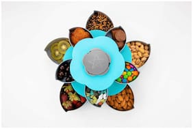 SKYFLY New Double Layer Dry Fruit Storage Box with Smart Rotating Multi Purpose Tray 1 pc Blue