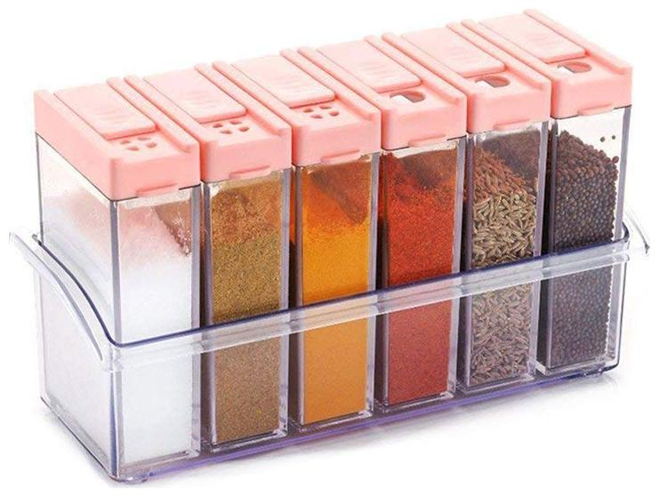 SKYFLY Spice Container/Spice Rack /Masala Box/Grocery Container,Condiment Set Of 6  Pink
