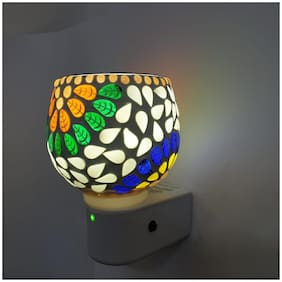 Skys & Ray  Beautiful Ceramic Kapoor Dani/Aroma Oil Burner Cum Night Lamp with Switch (in-Built on/Off Button for Heating)