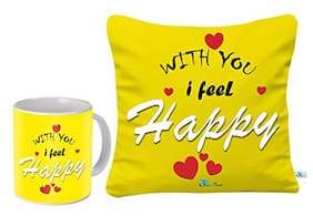 Skytrends SKYTRENDS Valentine?s Day  Birthday  Anniversary Combo(Cushion with Filler 12 * 12 and Coffee Mug)Great Gift for Describe Your Love to Your Wife Girlfriend  and Special Person in Your Life
