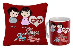 Skytrends Valentine Combo Gift For Girlfriend Printed Coffee Mug Cushion Cover For Kiss Day Propose day Promise Day Hug Day Rose Day Gifts