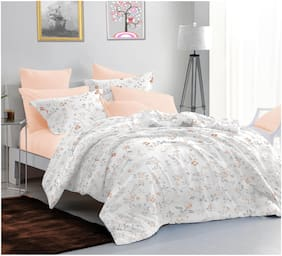 Sleeping Owls Cotton Floral Double Size Bedsheet 144 TC ( 1 Bedsheet With 2 Pillow Covers , White )