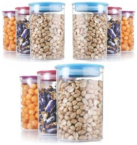Slings Plastic Air tight 9pcs food Storage Container Cereal Dispenser Jar 900ml Idle For Kitchen- Food Rice Pasta Pulses Container