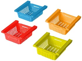SM Adjustable/Expandable Fridge Storage Rack Plastic Fridge Space Saver Kitchen organizer (Orange, Blue, Red, Green)Color-Set of 4