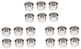 SM Designer Curry Dessert Serving Bowls Vati Katori, Stainless Steel - Set of 18