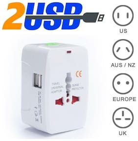 Smart All In One International Adapter with Two USB Charging Port Universal Travel Adapter with USB(EU US AUS NZ UK) ((1 Pack) - White)
