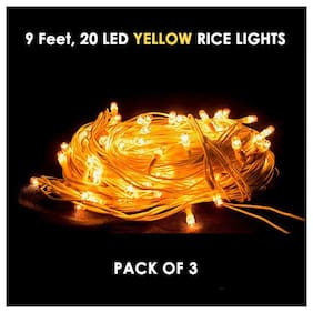 Smart Choice ( Pack of 3 ) Rice Light For Diwali , Christmas , Outdoor , Indoor Decoration 9.84252  Foot  ( Yellow )