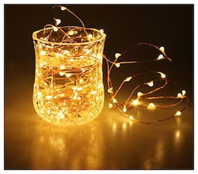 Smart Choice 5 Meters 30 LED Copper String Lights (YELLOW)Battery Powered Portable LED String Lights Fairy Star String Lights For Diwali