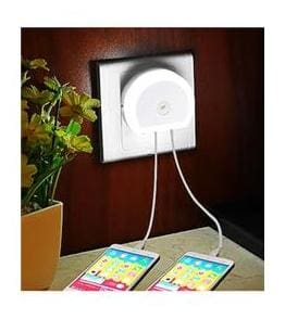 Smart Lamp with Charger AC220V Night Light Dual USB Phone Charger
