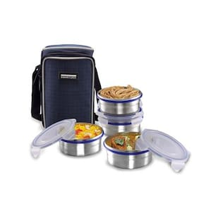 Smart Lock 4 Containers Stainless steel Lunch Box - Silver